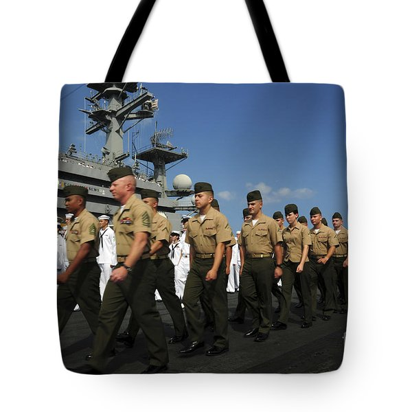 U.s. Marines March In Formation To Move Tote Bag