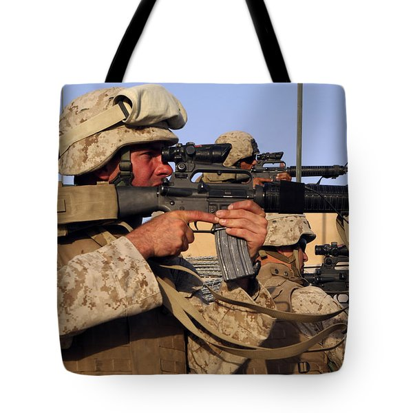 U.s. Marines Sighting Tote Bag by Stocktrek Images