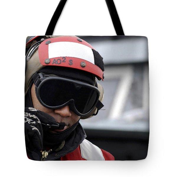 U.s. Navy Aviation Ordnanceman Reports Tote Bag by Stocktrek Images