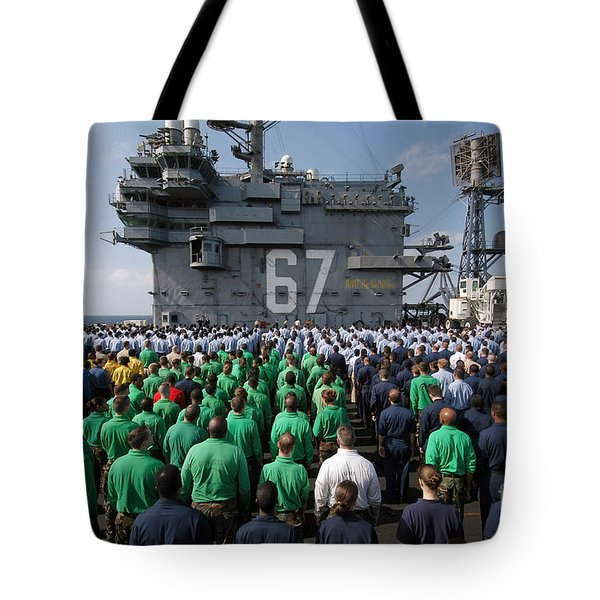 U.s. Navy Sailors Stand At Attention Tote Bag