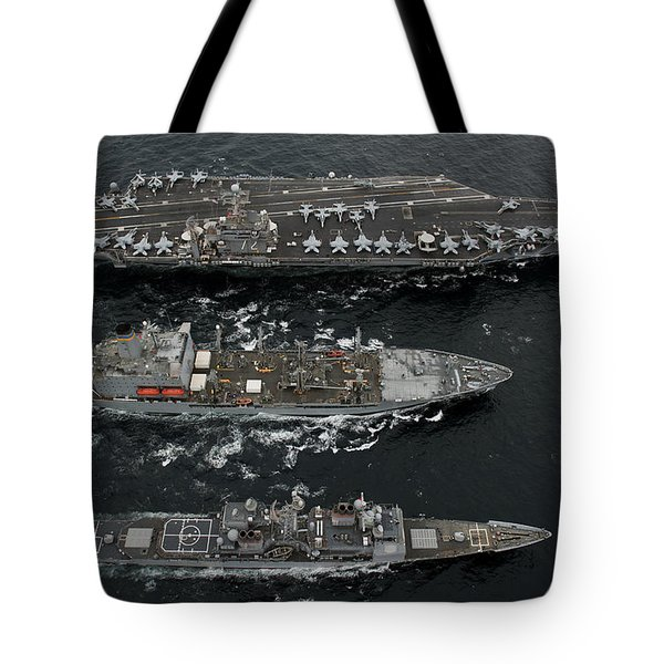 U.s. Navy Ships Conduct A Replenishment Tote Bag by Stocktrek Images