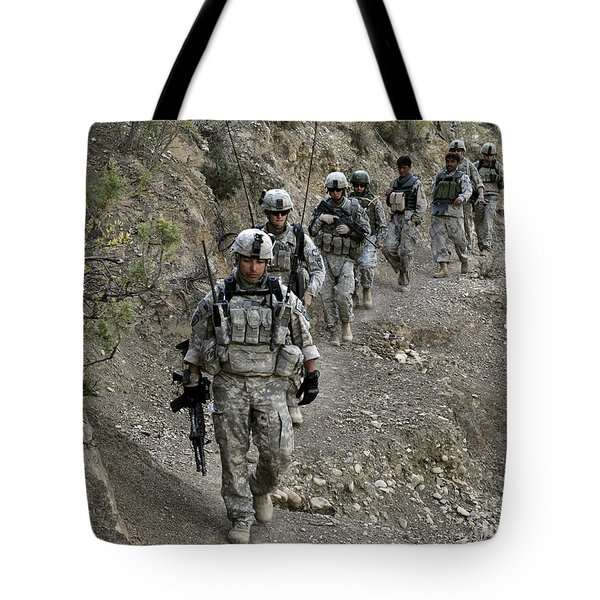 U.s. Soldiers And Afghan Border Tote Bag by Stocktrek Images
