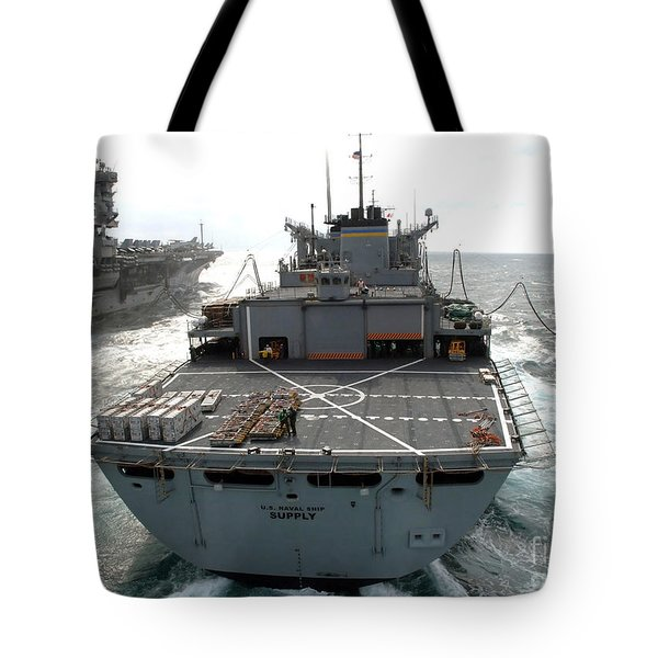 Usns Supply Conducts A Replenishment Tote Bag by Stocktrek Images