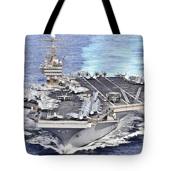 Uss Abraham Lincoln Transits Tote Bag by Stocktrek Images