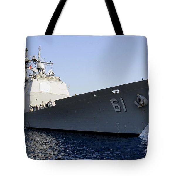 Uss Monterey Arrives Tote Bag