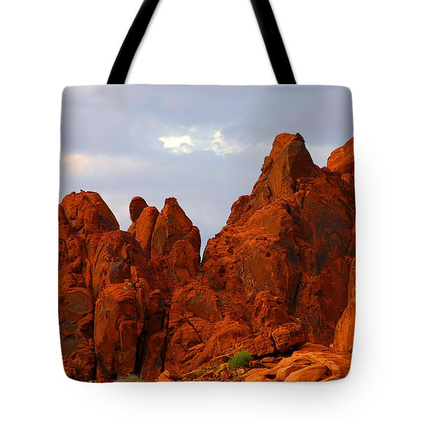 Valley Of Fire - The Landscape Burns Tote Bag by Christine Till