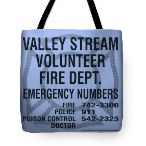 Valley Stream Fire Department In Cyan Tote Bag by Rob Hans