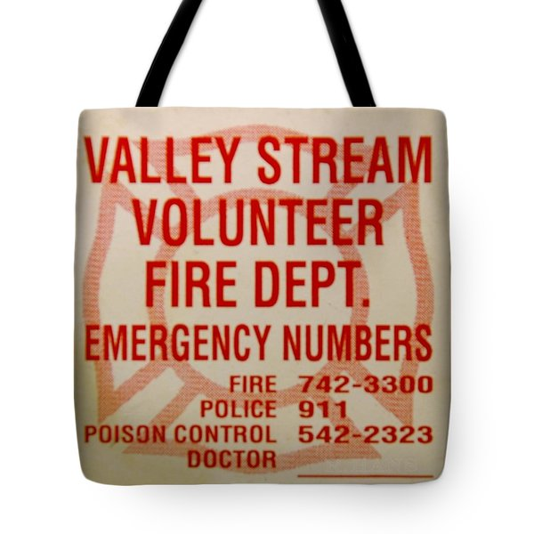 Valley Stream Fire Department Tote Bag by Rob Hans