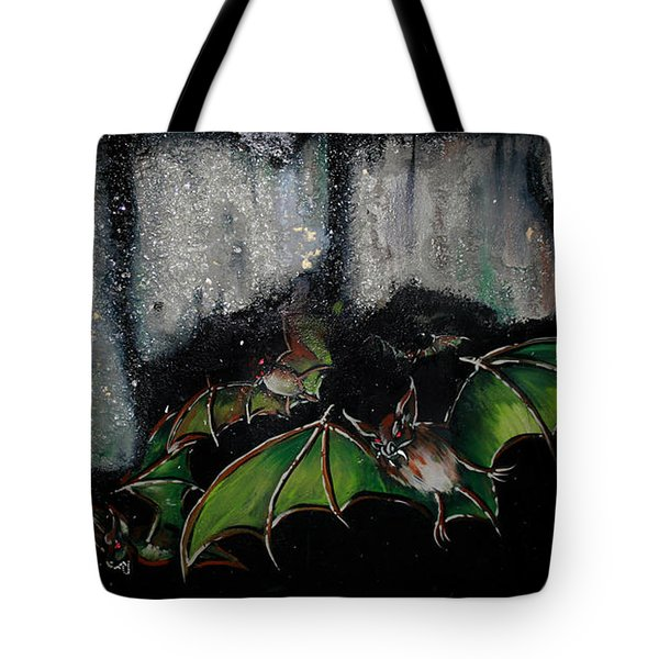 Tote Bag featuring the painting Vampire Bats  by Nada Meeks