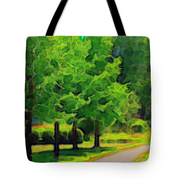 Tote Bag featuring the mixed media Van Gogh Trees by Terence Morrissey