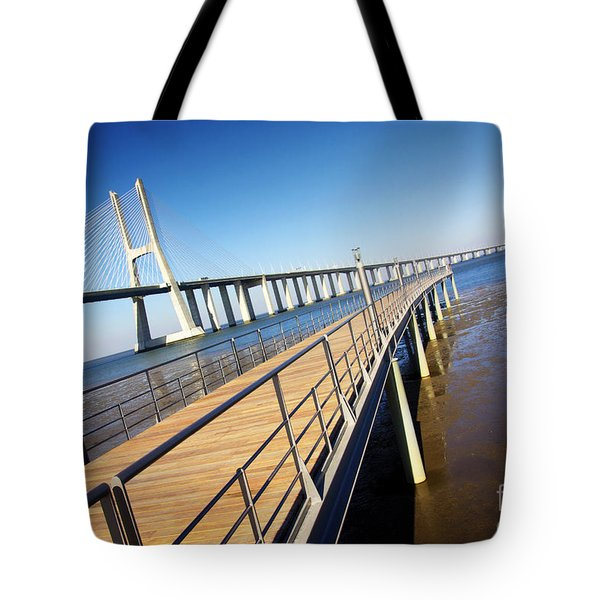 Vasco Da Gama Bridge Tote Bag by Carlos Caetano