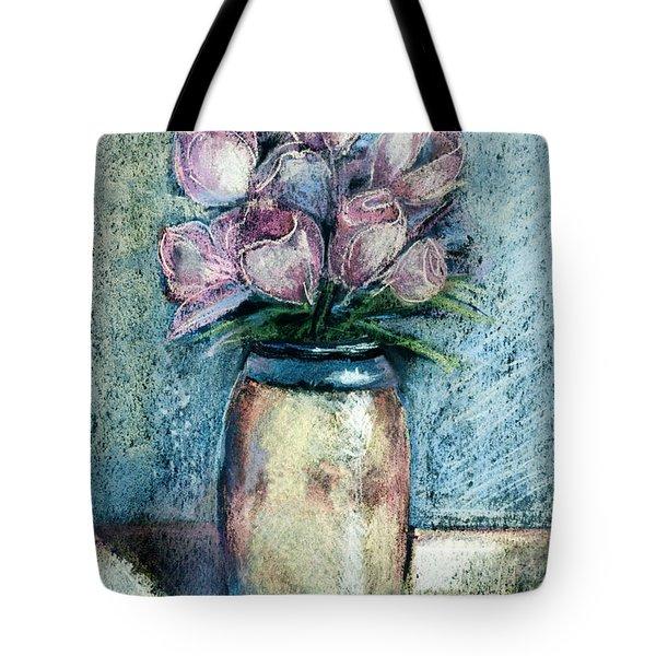 Vase Of Pink Tulips Tote Bag by Arline Wagner