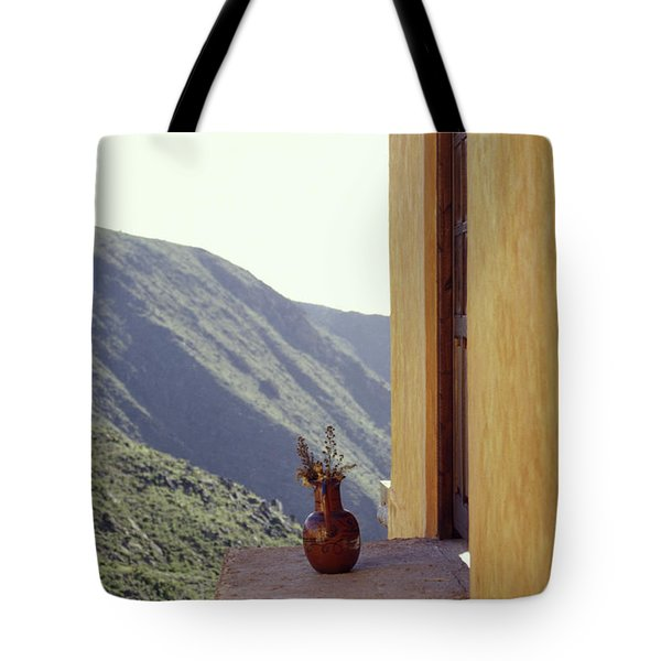 Vase On A Ledge Real De Catorce Mexico Tote Bag