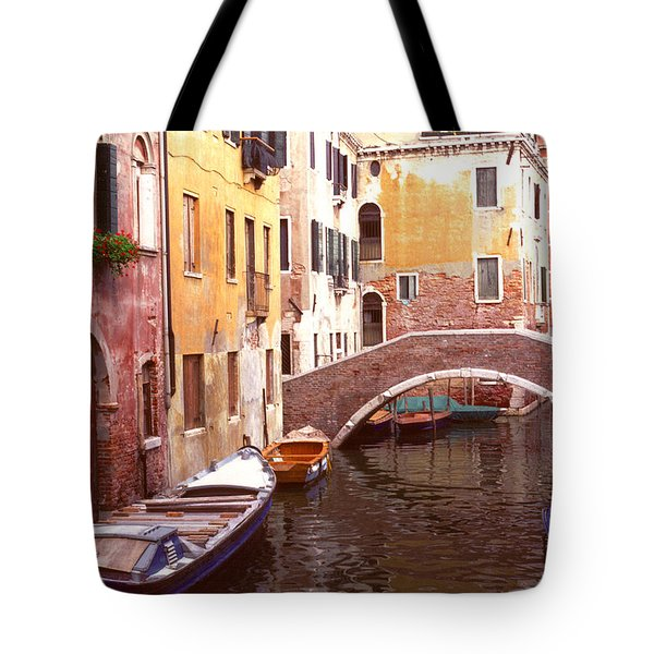 Venice Bridge Over A Small Canal. Tote Bag by Tom Wurl
