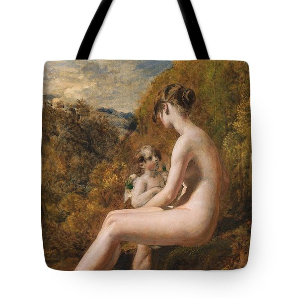Venus And Cupid  Tote Bag by William Etty