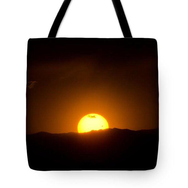 Venus Transit Setting Over The Rocky Mountains Tote Bag