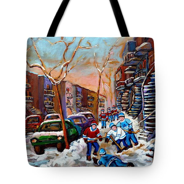 Verdun Montreal Hockey Game Near Winding Staircases And Row Houses Montreal Winter Scene Tote Bag by Carole Spandau
