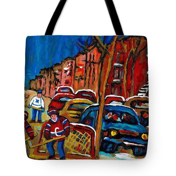 Verdun Rowhouses With Hockey - Paintings Of Verdun Montreal Street Scenes In Winter Tote Bag by Carole Spandau