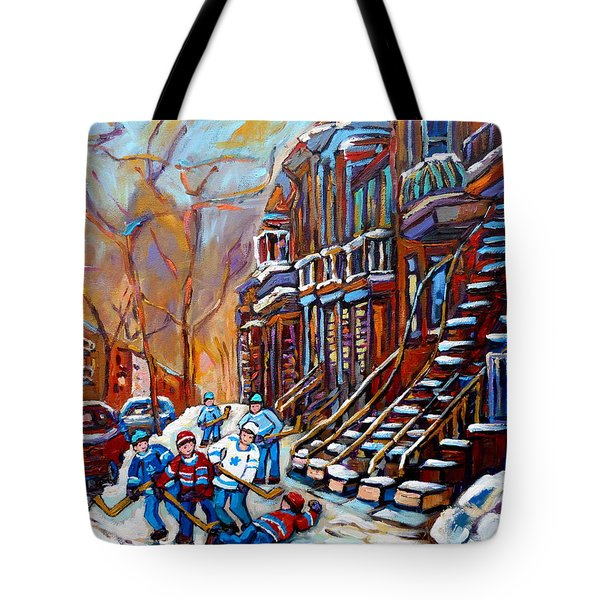Verdun Street Scene Hockey Game Near Winding Staircases Vintage Montreal City Scene Tote Bag by Carole Spandau