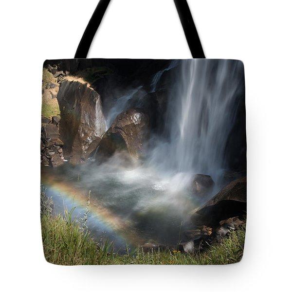 Vernal Falls Rainbow On Mist Trail Yosemite Np Tote Bag