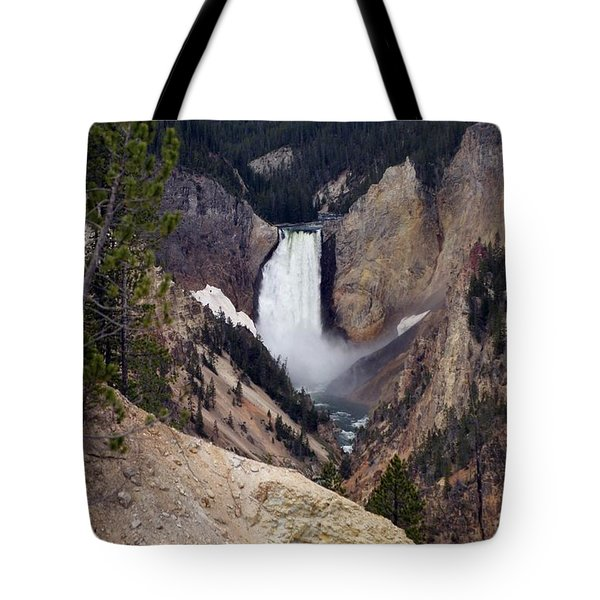 Vertical Lower Falls Of Yellowstone Tote Bag by Living Color Photography Lorraine Lynch