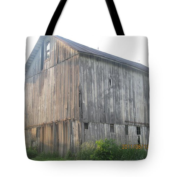 Tote Bag featuring the photograph Very Old Barn by Tina M Wenger