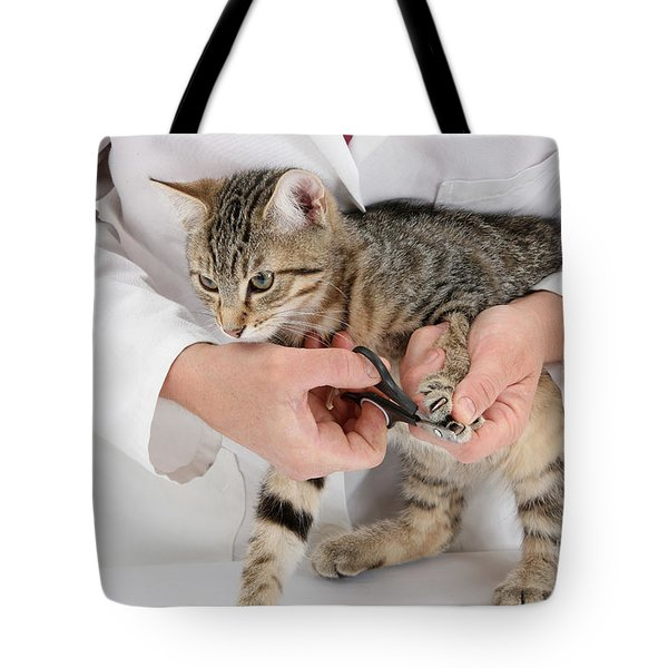Vet Clipping Kittens Claws Tote Bag by Mark Taylor