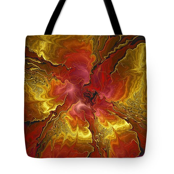 Vibrant Red And Gold Tote Bag