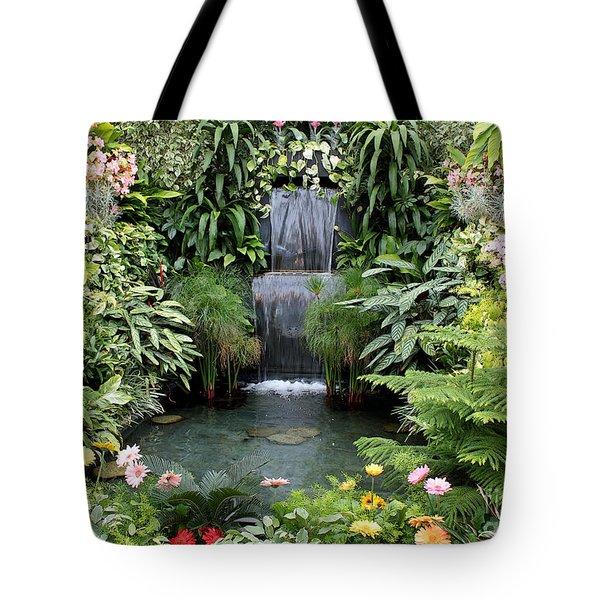 Victorian Garden Waterfall - Digital Art Tote Bag by Carol Groenen