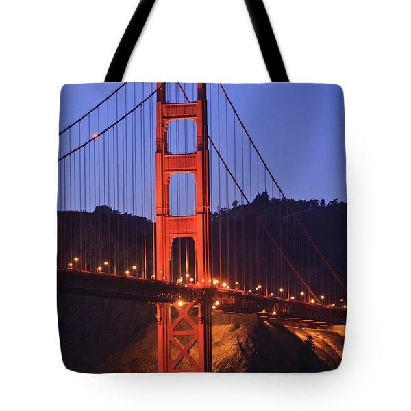 View Of Golden Gate Bridge At Dusk San Tote Bag by Stuart Westmorland