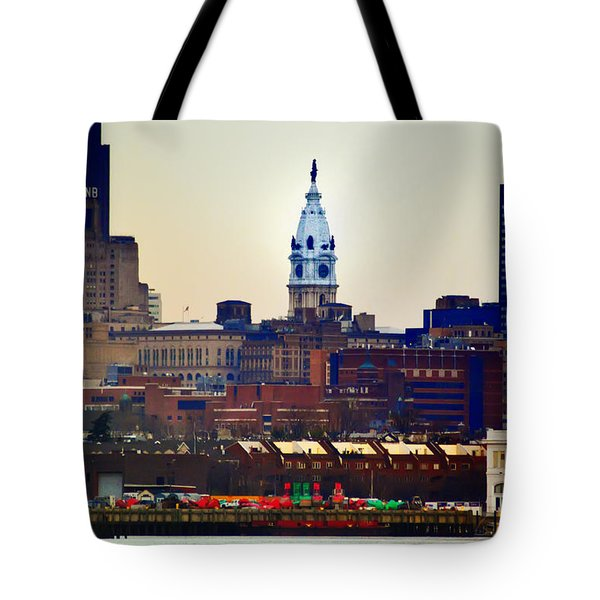 View Of Philadelphia City Hall From Camden Tote Bag by Bill Cannon