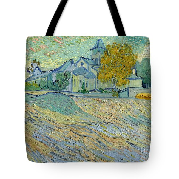 View Of The Asylum And Chapel At Saint Remy Tote Bag by Vincent Van Gogh