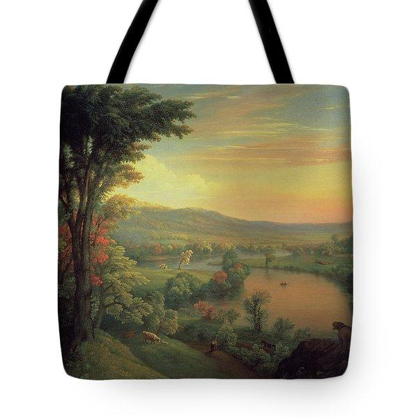 View Of The Mohawk Near Little Falls Tote Bag by Mannevillette Elihu Dearing Brown