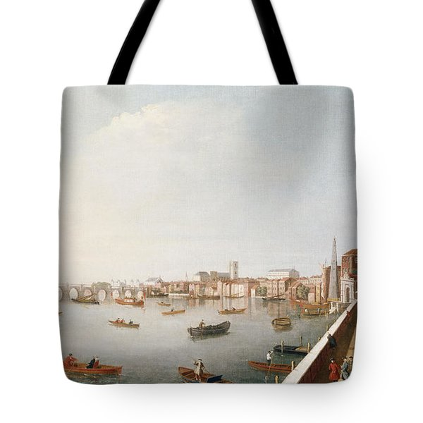 View Of The River Thames From The Adelphi Terrace  Tote Bag by William James