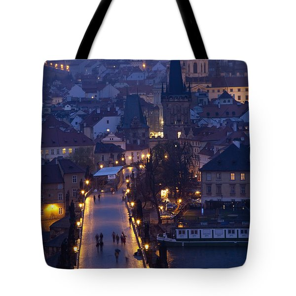 View Over The Charles Bridge Towards Tote Bag by Axiom Photographic