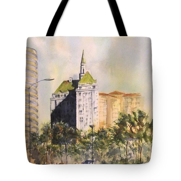 Tote Bag featuring the painting Villa Riviera  by Debbie Lewis