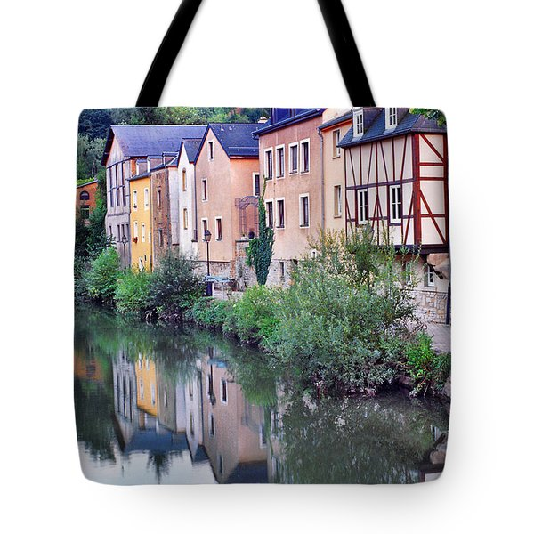 Village Reflections In Luxembourg I Tote Bag by Greg Matchick