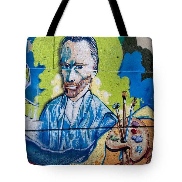 Tote Bag featuring the digital art Vincent On The Wall by Carol Ailles