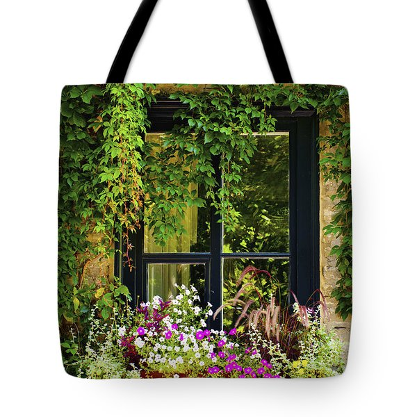 Vines Growing On A Wall And Flowers Tote Bag by David Chapman