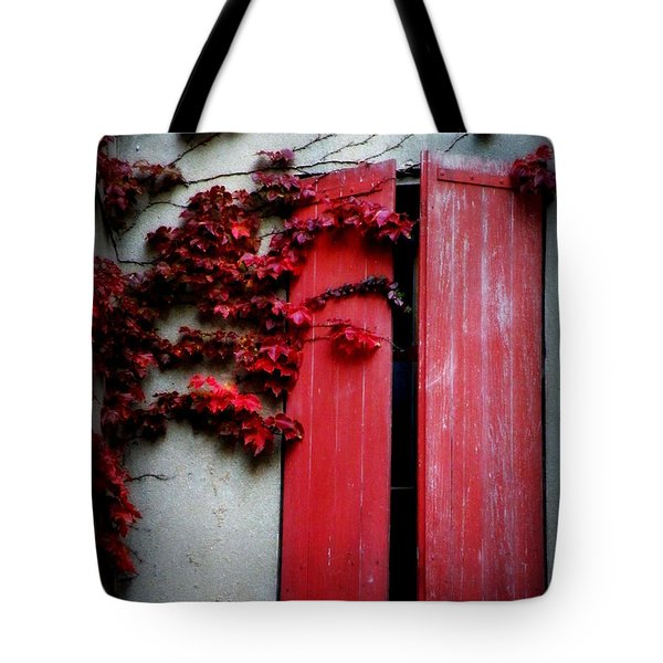 Vines On Red Shutters Tote Bag
