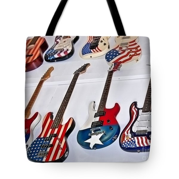 Tote Bag featuring the photograph Vintage American Flag Guitars Art Prints by Valerie Garner