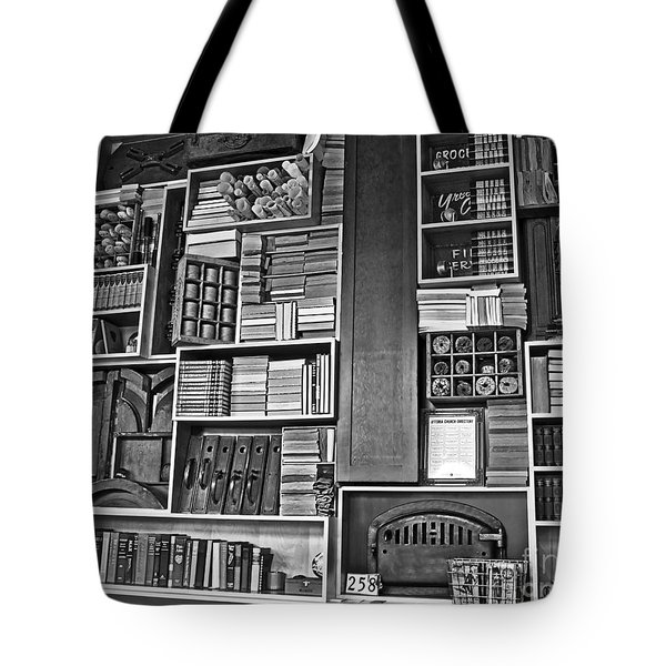 Tote Bag featuring the photograph Vintage Bookcase Art Prints by Valerie Garner