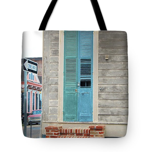 Vintage Dual Color Wooden Door And Brick Stoop French Quarter New Orleans Accented Edges Digital Art Tote Bag by Shawn O'Brien