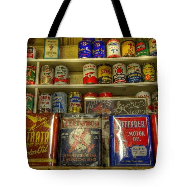 Vintage Garage Oil Cans Tote Bag by Bob Christopher