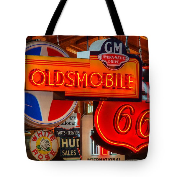 Vintage Neon Sign Oldsmobile Tote Bag by Bob Christopher