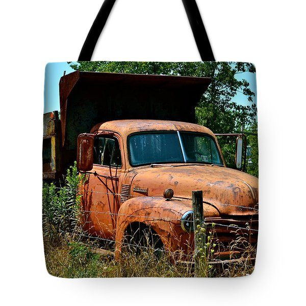 Tote Bag featuring the photograph Vintage Old Time Truck by Peggy Franz