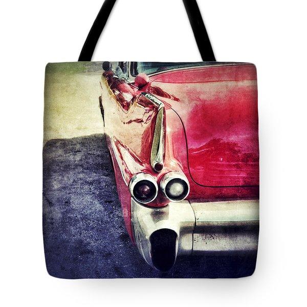 Vintage Red Car Tote Bag by Jill Battaglia