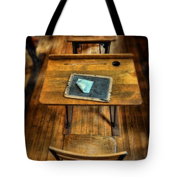 Vintage School Desks Tote Bag by Jill Battaglia