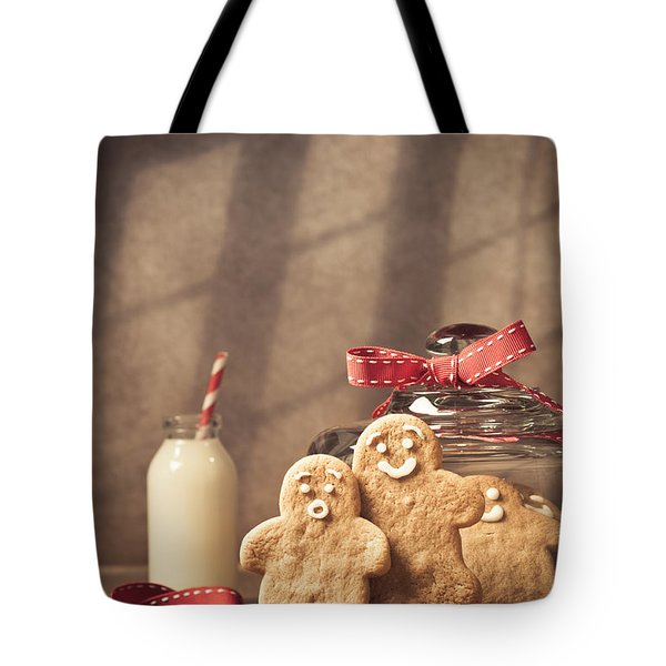 Vintage Style Gingerbread Men Tote Bag by Amanda Elwell