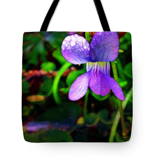 Violet With Dew Tote Bag by Judi Bagwell